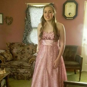 Rosy pink prom dress with thin straps